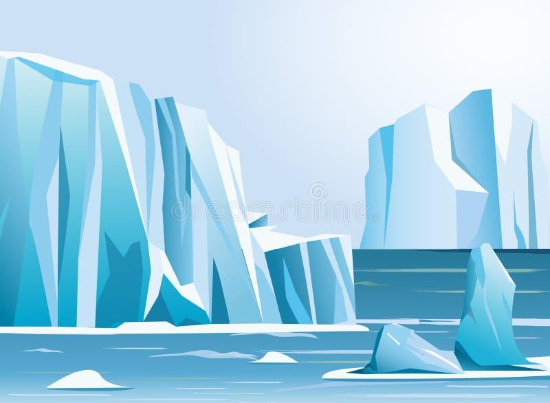 Arktischer Eisberg und -berge der Vektorillustration Landschafts Weiße Schneeflocken auf einem blauen Hintergrund vektor abbildung