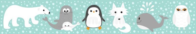 Arktisk polar djur fastställd linje Den vita björnen, ugglan, pingvinet, skyddsremsavalp behandla som ett barn seagall för albatr royaltyfri illustrationer
