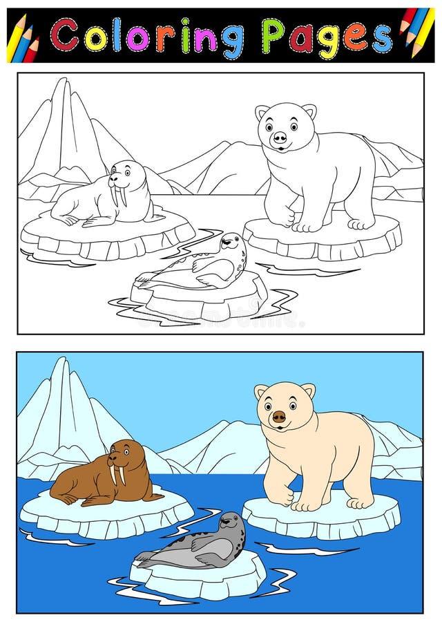 Arktiska djur för färgläggningbok royaltyfri illustrationer