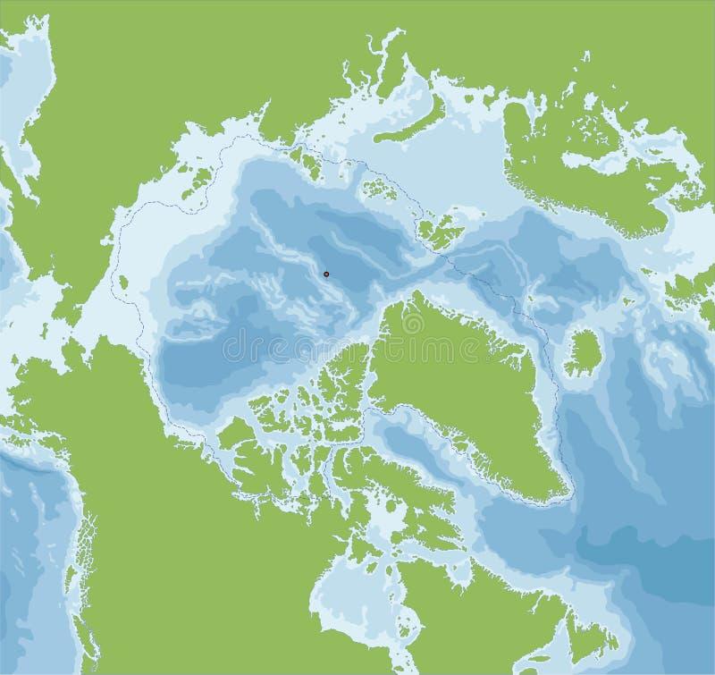 Arktycznego oceanu mapa ilustracja wektor