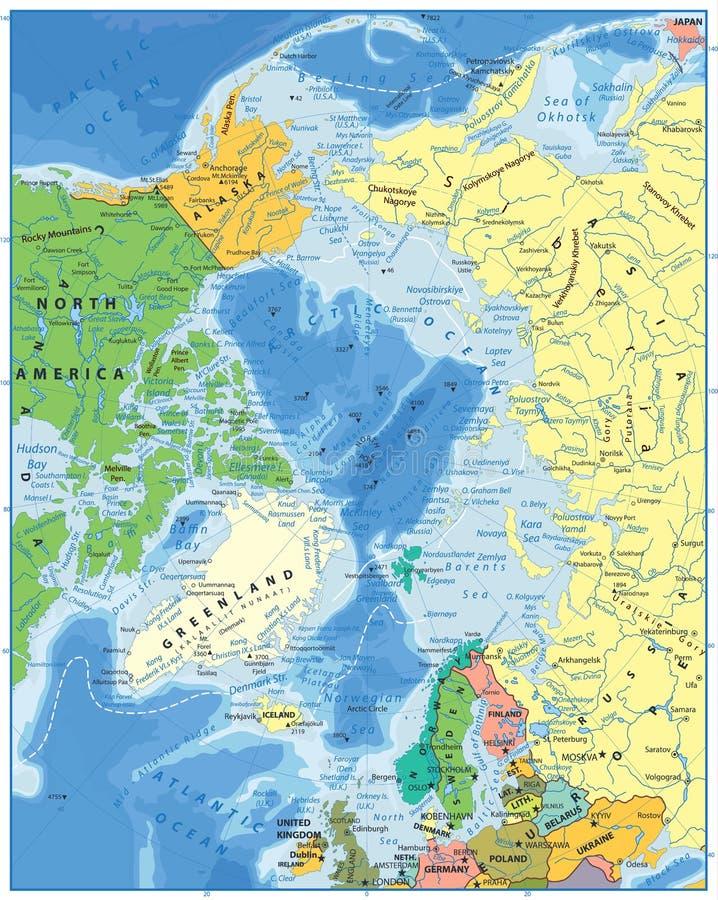 Arktycznego oceanu Polityczna mapa ilustracja wektor