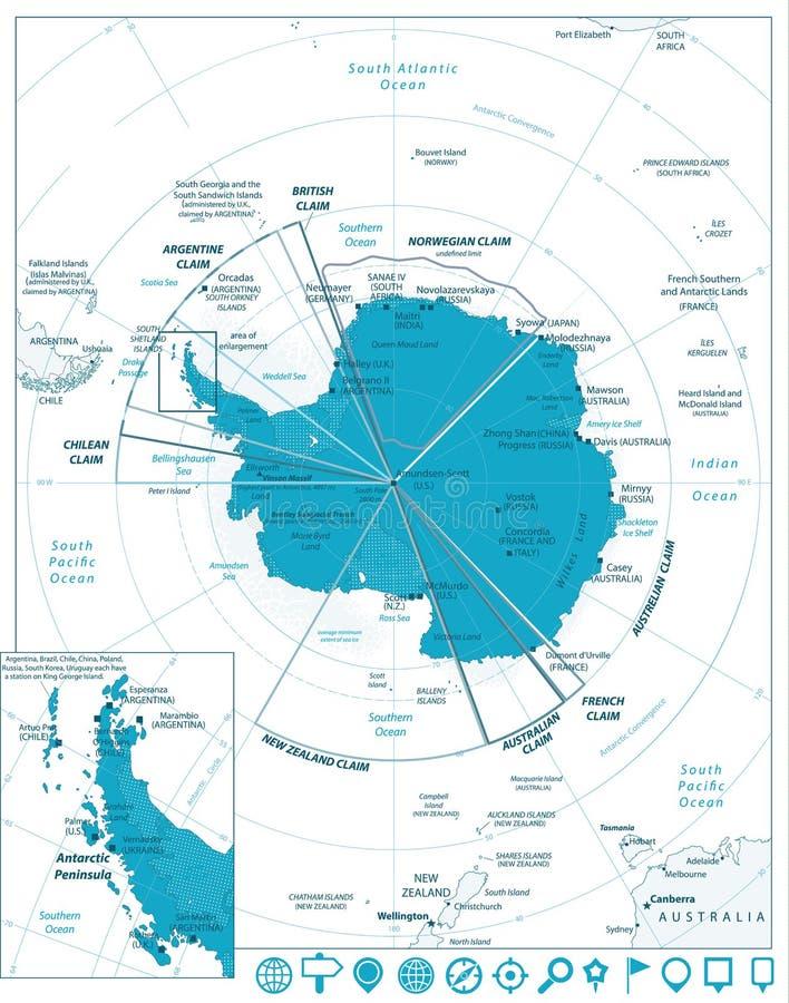 Arktycznego regionu nawigaci i mapy ikony royalty ilustracja