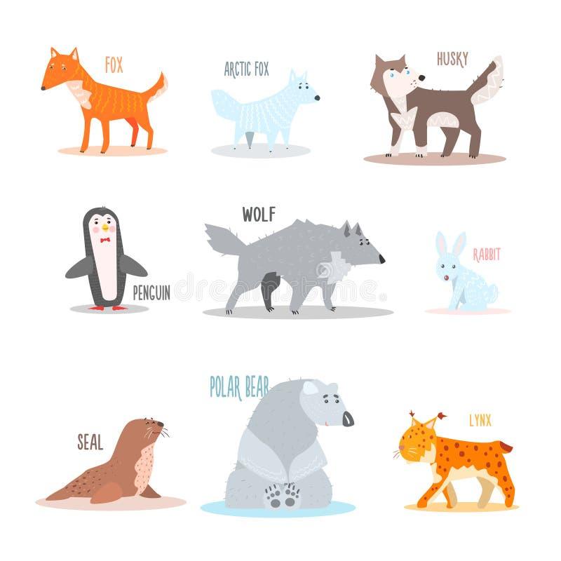 Arktyczni i Antarktyczni zwierzęta, pingwin wektor ilustracja wektor