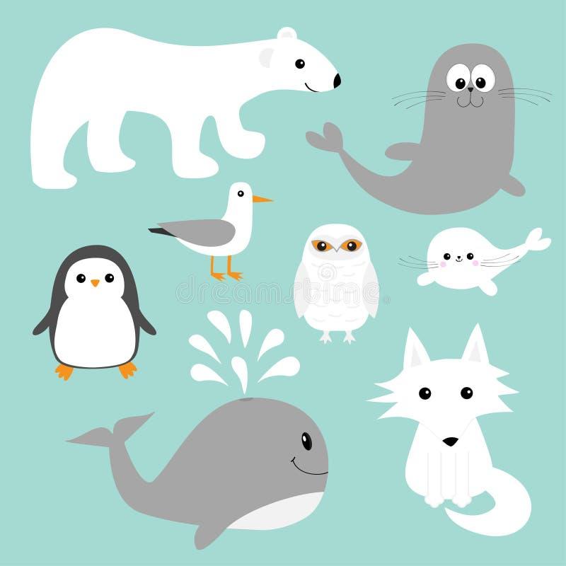 Arktyczny biegunowy zwierzę set royalty ilustracja