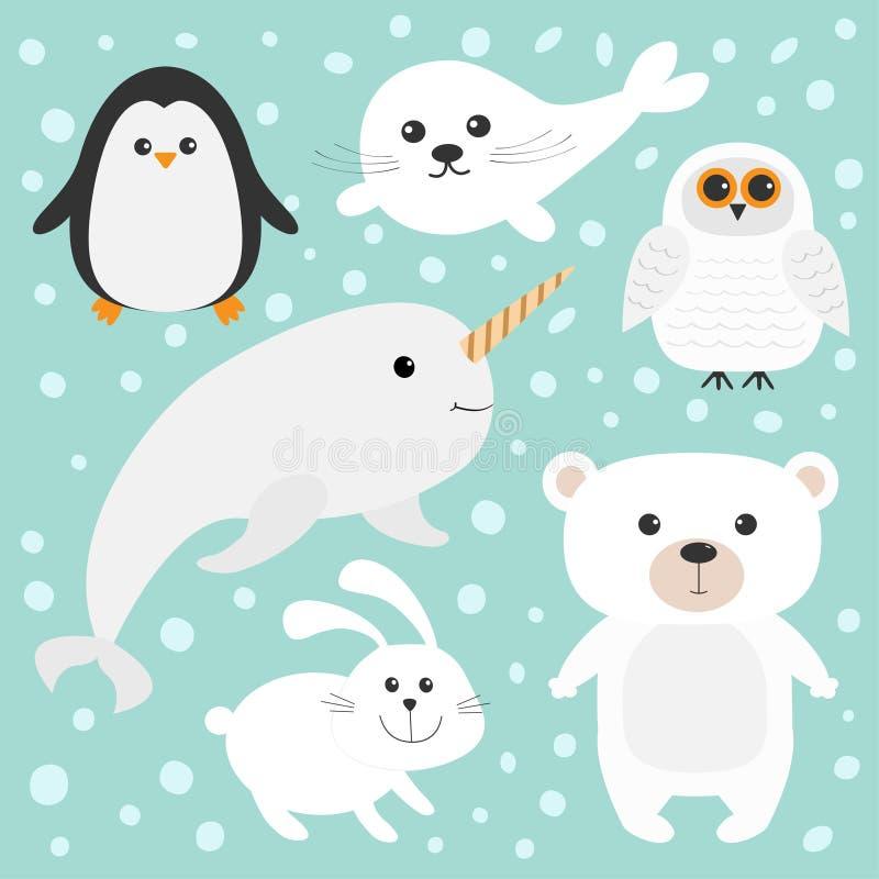 Arktyczny biegunowy zwierzę set Biały niedźwiedź, sowa, pingwin, foki ciuci dziecka harfa, zając, królik, narwhal, ryba Dzieciak  ilustracji