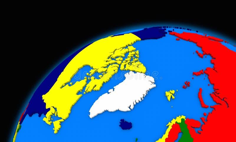 Arktyczny północny biegunowy region na planety ziemi politycznej mapie royalty ilustracja
