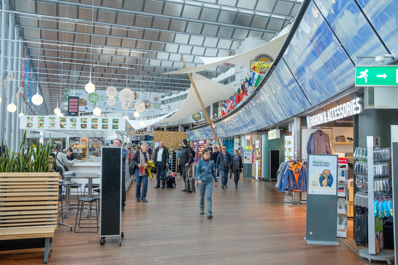 Arlanda International airport, Stockholm. Stockholm, Sweden - March 9, 2017: Travellers at Sky City between the international and domestic terminal at Arlanda royalty free stock photography