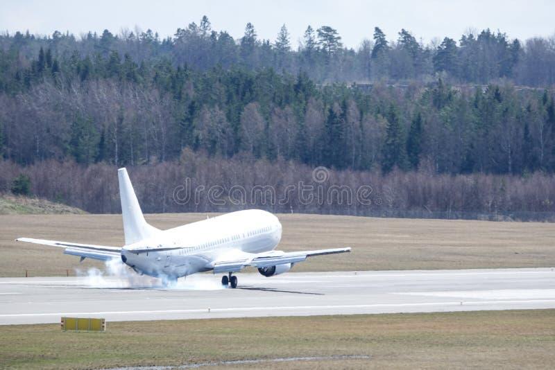 Go2Sky Slovak charter airline, Boeing 737 - 49R landing. Arlanda, Stockholm, Sweden - April 27, 2018: Go2Sky Slovak charter airline, Boeing 737-49R landing at stock photos