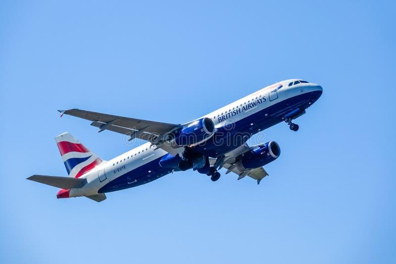 British Airways, BA, Airbus A320 - 232 take off in blue sky. Arlanda, Stockholm, Sweden - July 6, 2018: British Airways, BA, Airbus A320 - 232 take off in blue stock image
