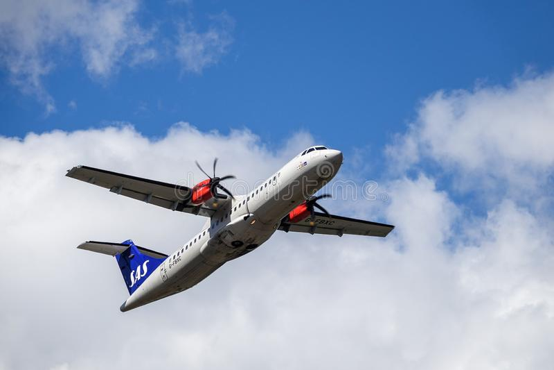 SAS Scandinavian Airlines, ATR 72 - 600 take off stock image