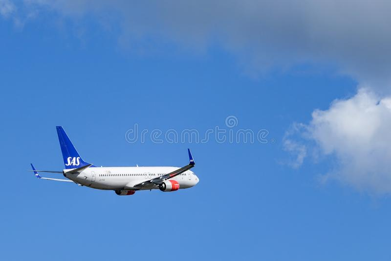 SAS Scandinavian Airlines, Boeing 737 - 800 take off royalty free stock photos