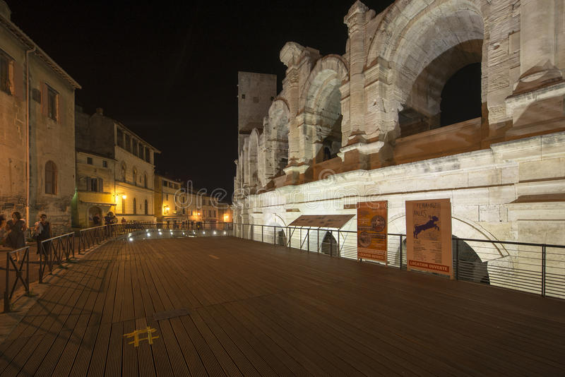 Arles Amphitheatre at night, France stock photography