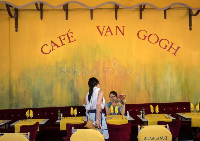 Cafe Van Gogh at Place du Forum in Arles. Provence, France. Arles, France - June 27, 2017: Cafe Van Gogh at Place du Forum in Arles. Provence, France. This is royalty free stock photos