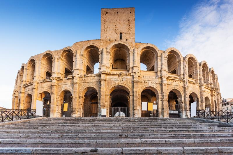 Arles, France. Provence, France. Roman amphitheatre in the Old Town of Arles stock images