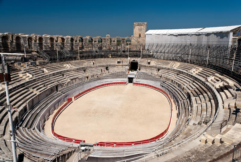 Arles Roman Amphitheate. R, view of the arena stock photos