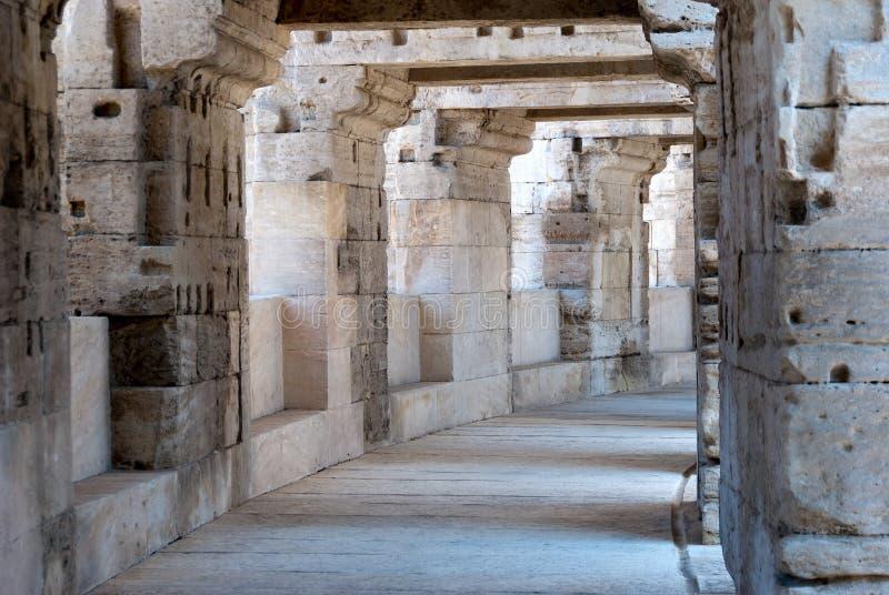 Arles Roman Amphitheate. R, view of the inner corridor royalty free stock photos