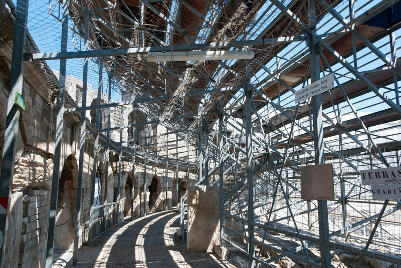 Arles Roman Amphitheate. R, view of step support structures stock image