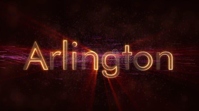 Arlington - animation de bouclage brillante des textes de nom de ville illustration de vecteur