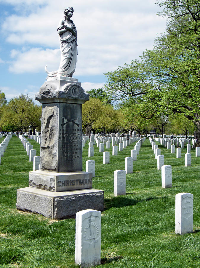 Arlington cimitero Christman monumento aprile 2010 fotografia stock