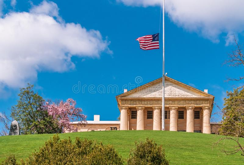 The Arlington House. Arlington Cemetery Memorial Entrance and former home of Robert E. Lee Virginia royalty free stock photo