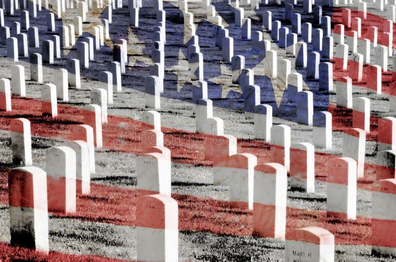 Arlington kyrkogård med gravstenar royaltyfri foto