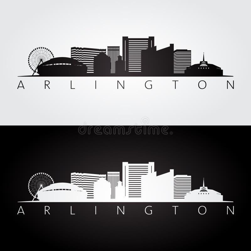 Arlington, le Texas - horizon des Etats-Unis et silhouette de points de repère illustration libre de droits