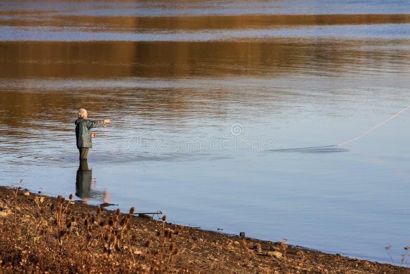 ARLINGTON RESERVOIR, BERWICK/EAST SUSSEX - 9 NOVEMBER: Vliegvissen stock foto