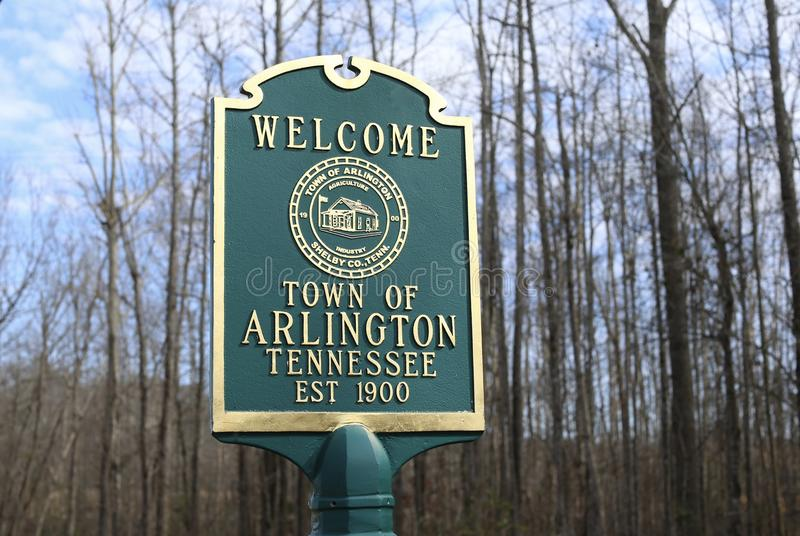 Arlington Tennessee Welcome Sign royalty-vrije stock foto's
