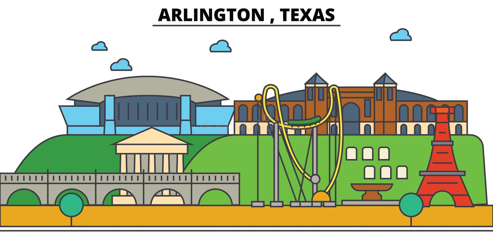 Arlington, Texas De architectuur van de stadshorizon stock illustratie