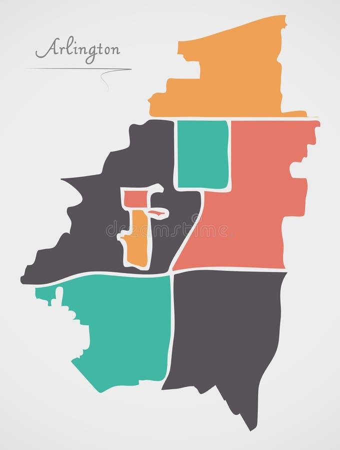 Arlington Texas Map with neighborhoods and modern round shapes. Illustration stock illustration