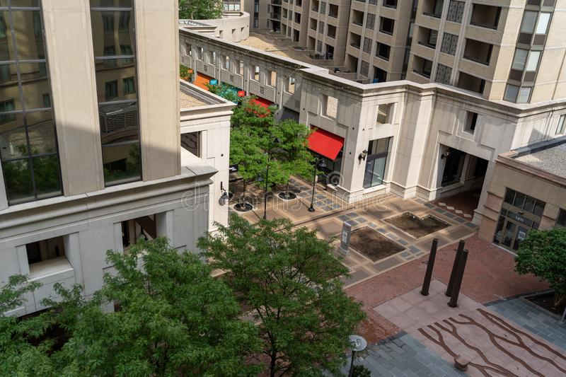 Arlington, Virginia - Aerial view of the Courthouse Plaza area in the urban Court House neighborhood in Northern stock photography