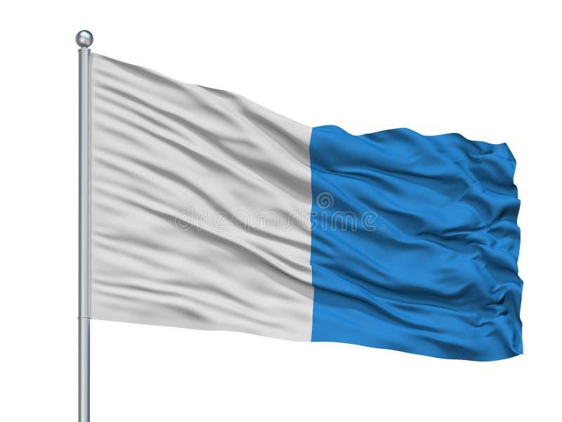 Arlon City Flag On Flagpole, Bélgica, aislada en el fondo blanco libre illustration