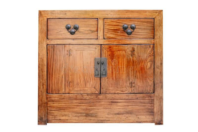 Armário clássico de madeira velho do estilo da madeira de mogno das gavetas isolada em branco com trajeto de grampeamento imagens de stock