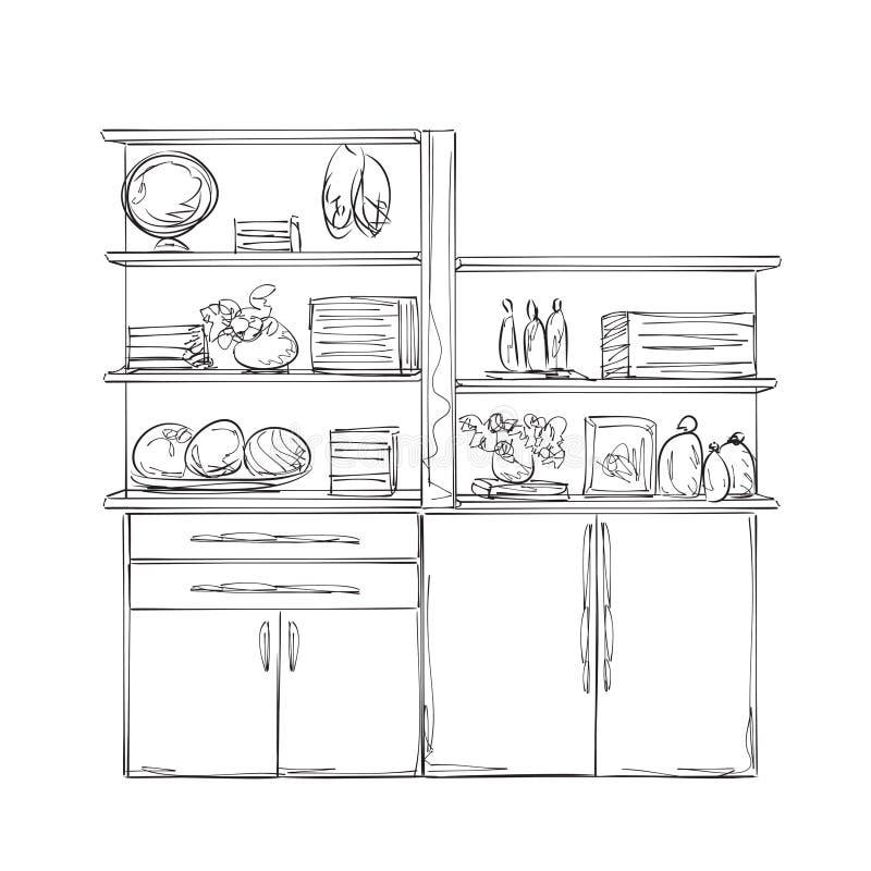 Armário da cozinha Mobília com mercadorias ilustração do vetor