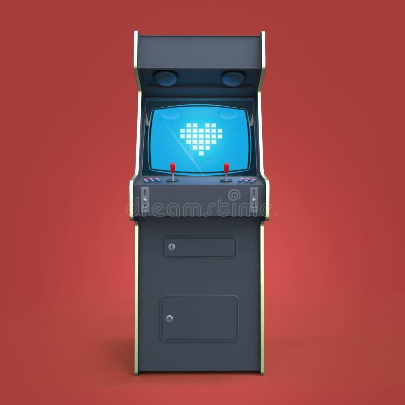 Armário da máquina de jogo de arcada do vintage com os controladores coloridos e a tela do ícone do coração do pixel isolados ilustração royalty free