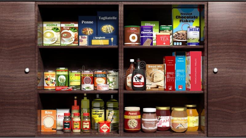 Armário de cozinha de madeira completamente do alimento ilustração do vetor