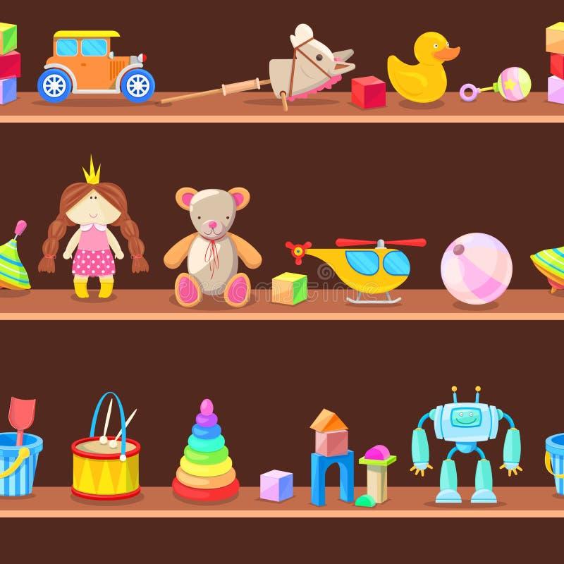 Armário de madeira com os brinquedos das crianças em prateleiras Fundo sem emenda do vetor ilustração stock