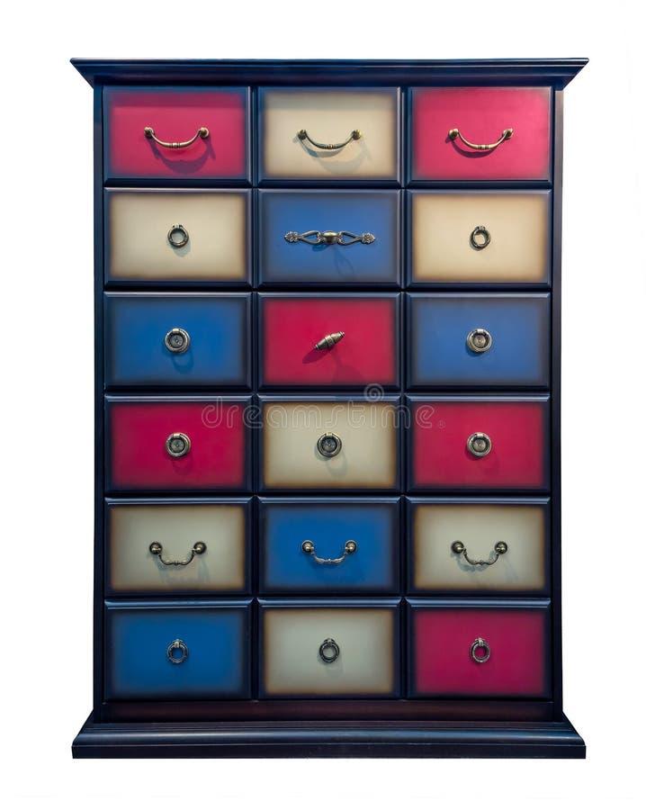 Armário de madeira do armário caixa colorida de pintado à mão das gavetas isolado no fundo branco foto de stock royalty free