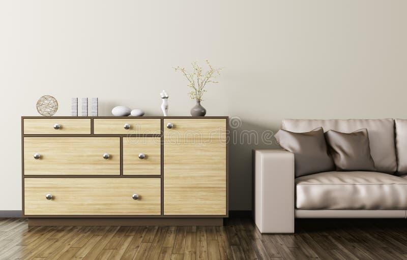 Armário de madeira e rendição de couro bege do sofá 3d ilustração royalty free