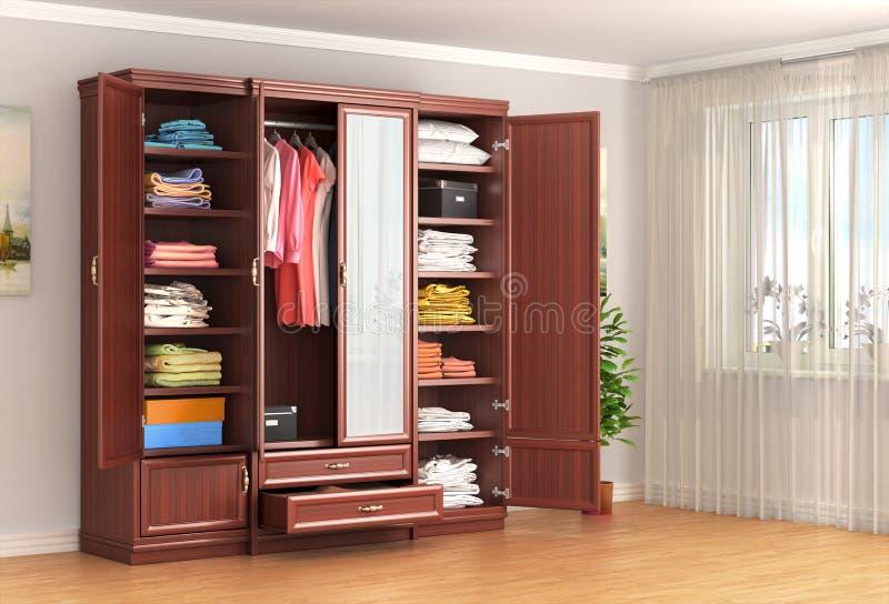 armário Armário de madeira na sala perto da janela ilustração stock