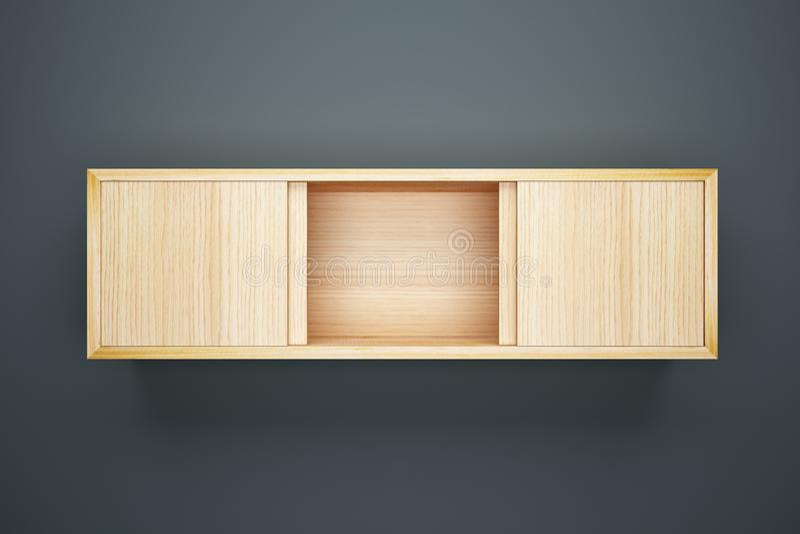 Armário de madeira no interior cinzento da parede ilustração royalty free