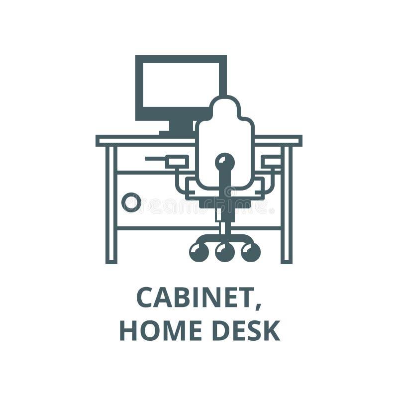 Armário, mesa da casa com PC e linha ícone da cadeira do escritório, vetor Armário, mesa da casa com PC e sinal do esboço da cade ilustração do vetor