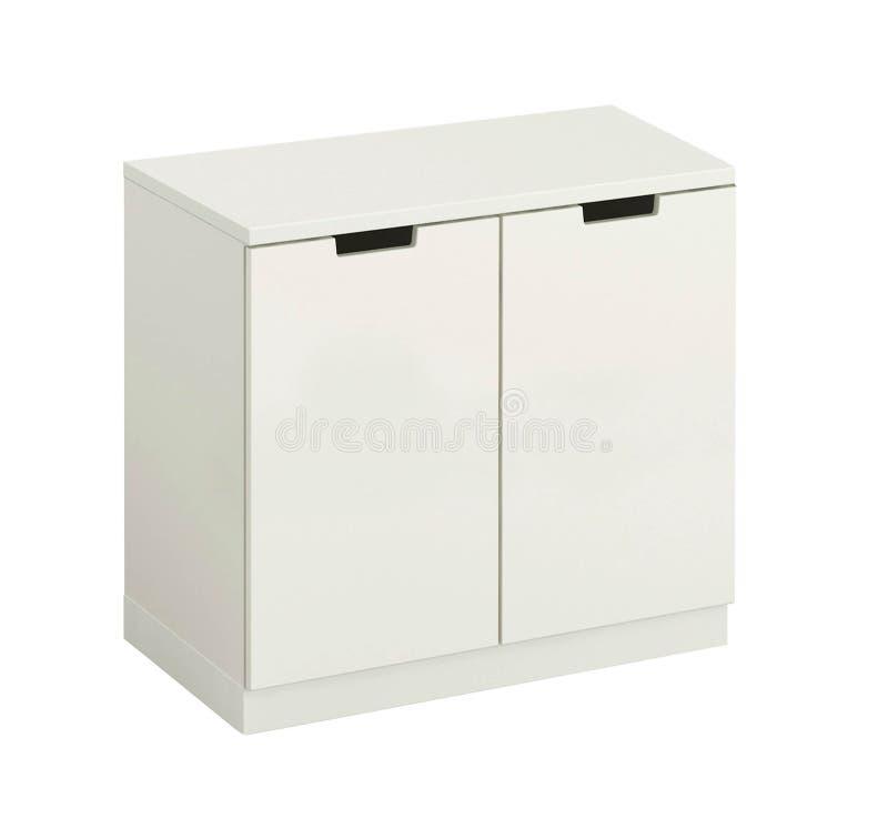 Armário moderno de madeira branco bonito isolado fotografia de stock