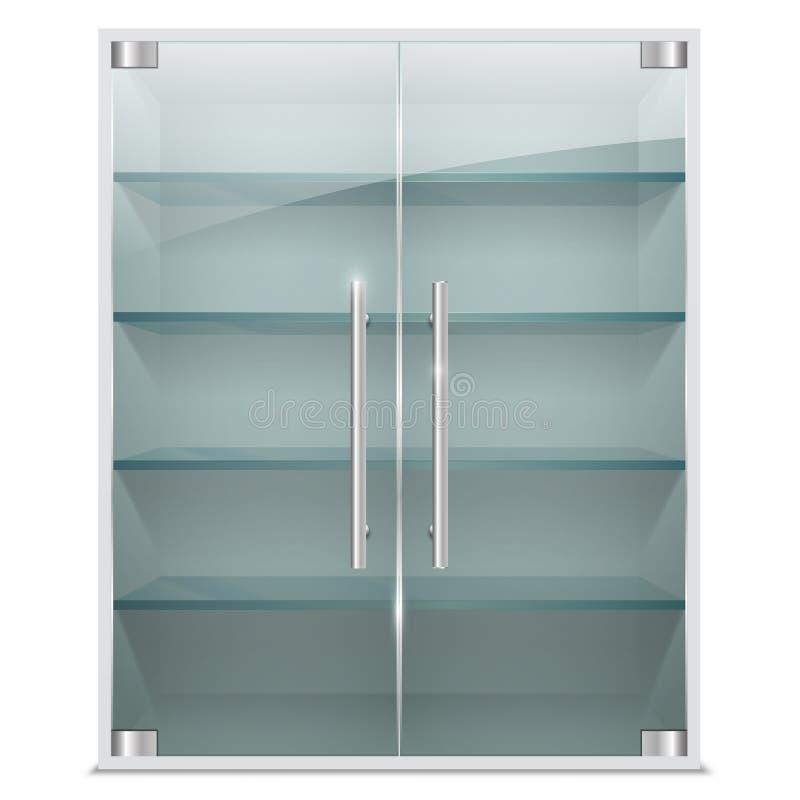 Armário realístico com as portas de vidro transparentes ilustração royalty free
