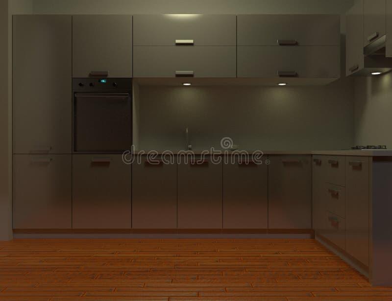 Armários de cozinha gerados por computador imagens de stock