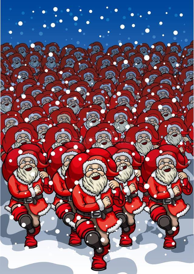 Armé av Santa Clauses royaltyfri illustrationer