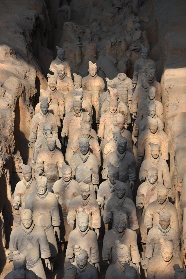 Armé av terrakottakrigare och hästar, Xian, Kina arkivfoto