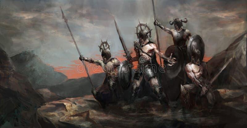 Armé i krig royaltyfri illustrationer