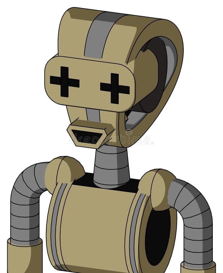 Armé-solbränna robot med det Droid huvudet och den lyckliga munnen och plus teckenögon royaltyfri illustrationer