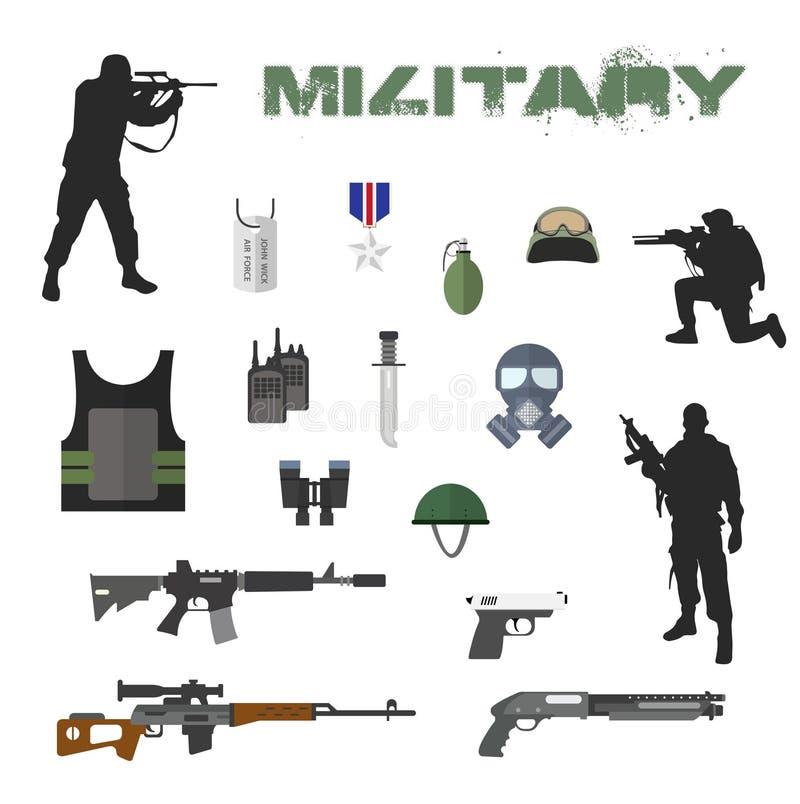 Armébegrepp av den militära utrustninglägenheten stock illustrationer
